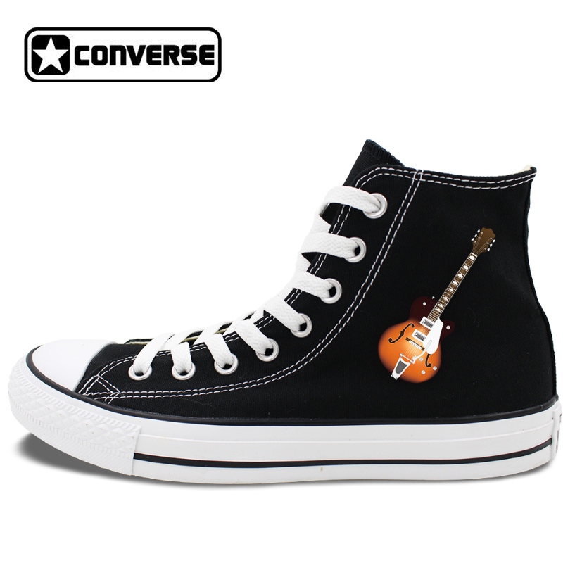 bf0846423e2 Unisex Converse Design Musical Instruments Guitar Canvas Black Shoes All  Star Chuck Sneakers on Storenvy