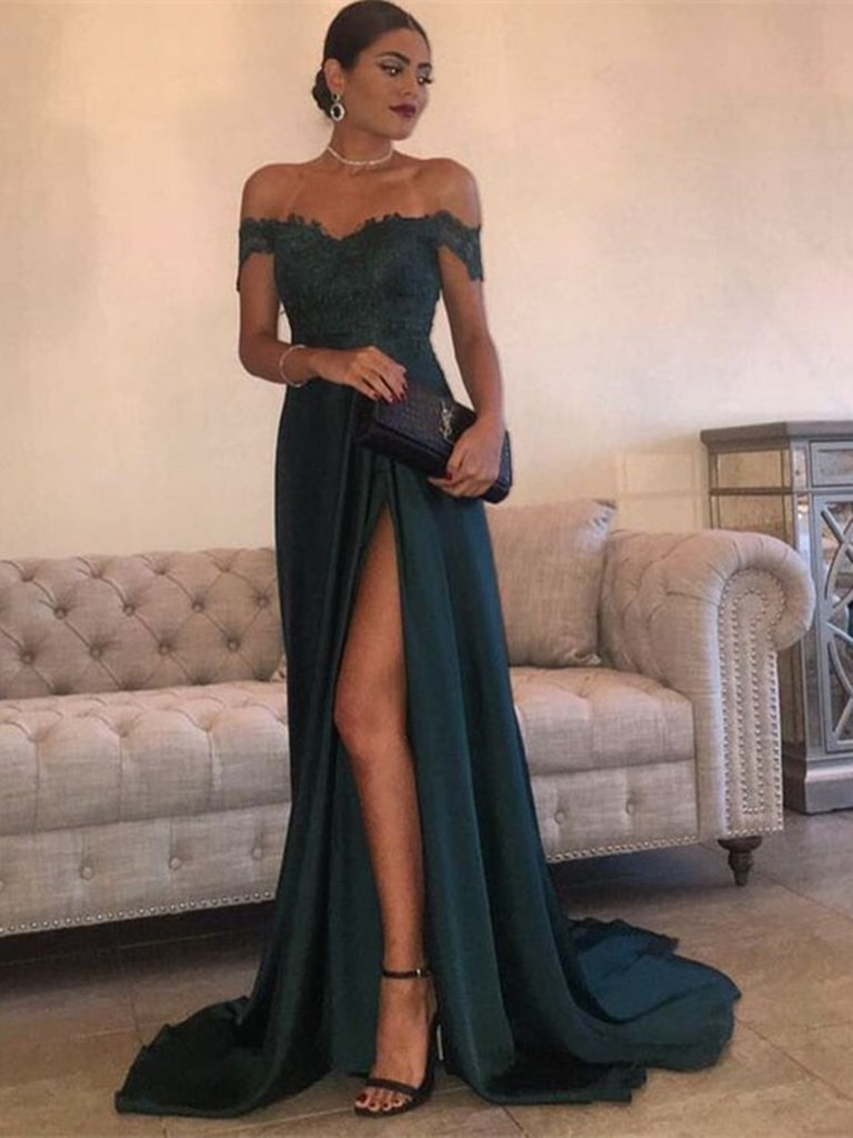 5b8bb7570f1 Sexy Dark Green A Line Off Shoulder Lace Prom Dress With Train on Storenvy