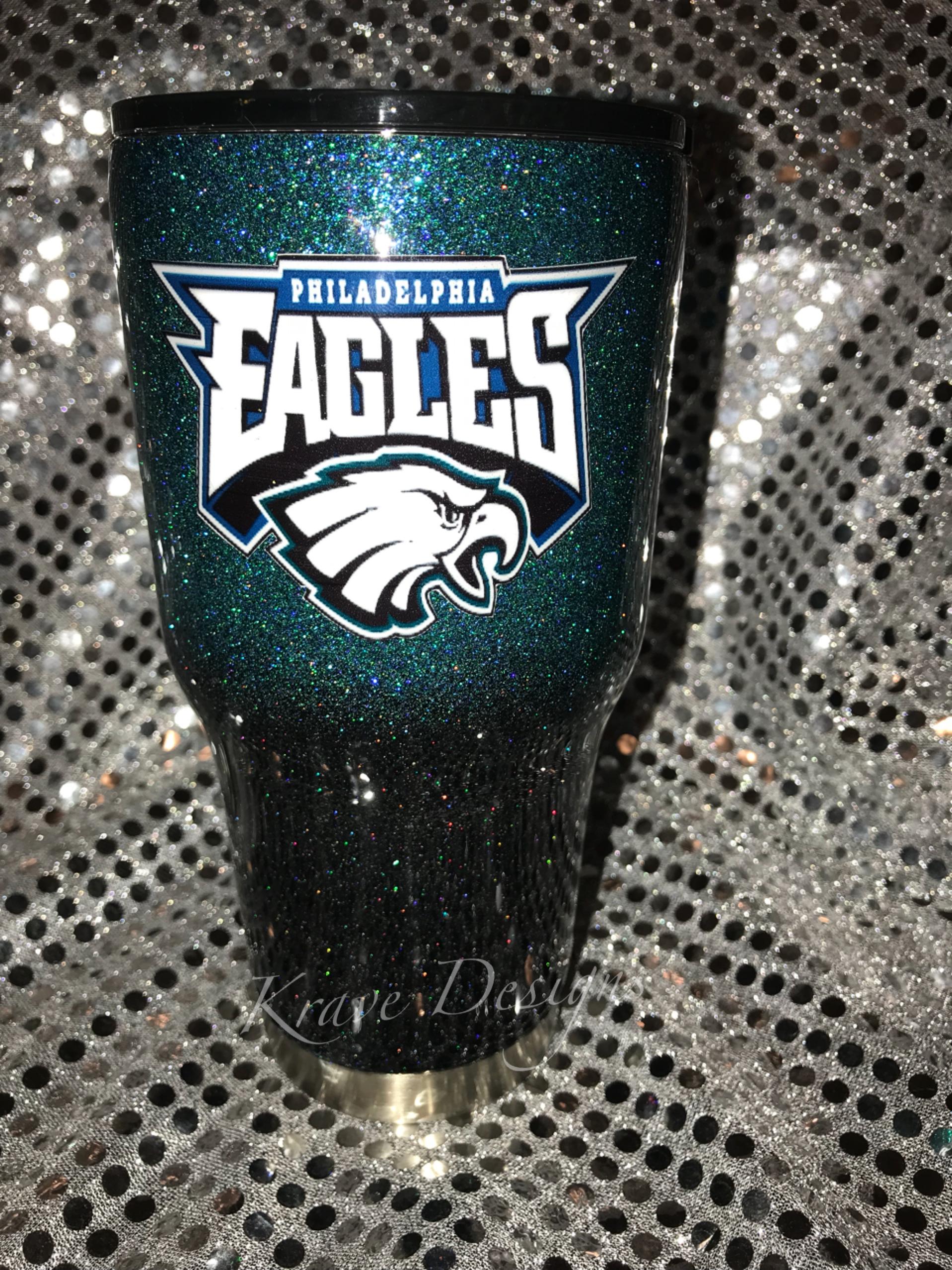 buy online 7af78 4e861 Philadelphia Eagles Glitter Stainless Steel Tumbler sold by Krave Designs  Custom Gifts
