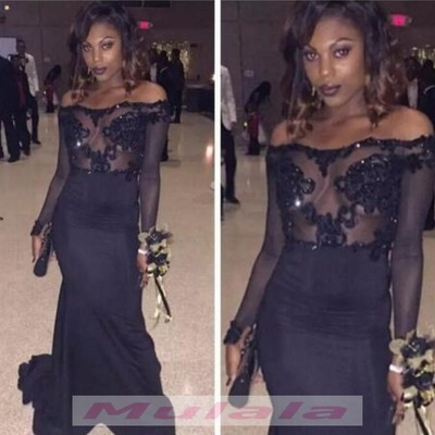 bec3900315b9 African black girl mermaid prom dresses 2018 lace appliques illusion  bodices sheer long sleeves evening dress