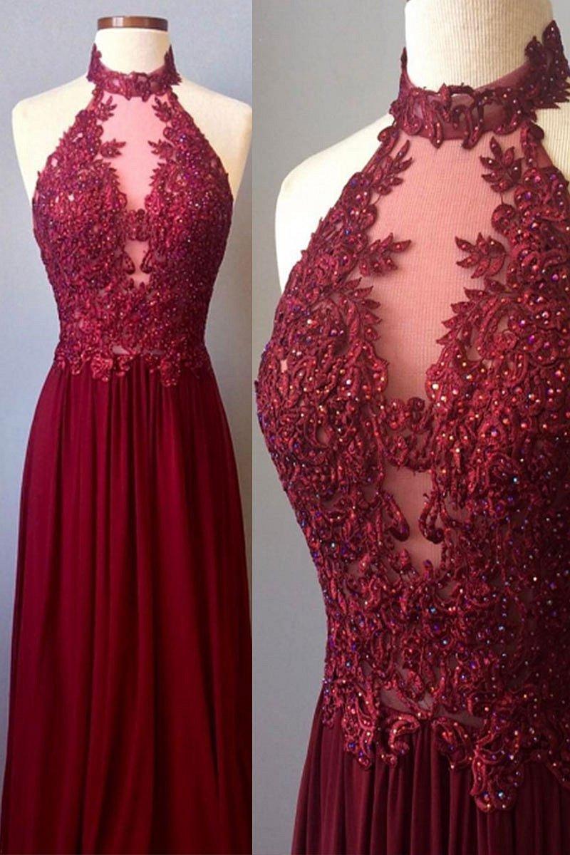 bcd545cc3a2 Halter Neck Burgundy Lace Prom Dress