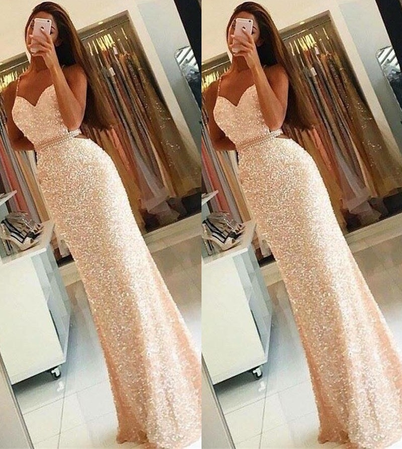 d7b2947003 Pink Sequin Shiny Prom Dresses,Backless Sexy Prom Gowns,Long Prom Dress  from 21weddingdresses
