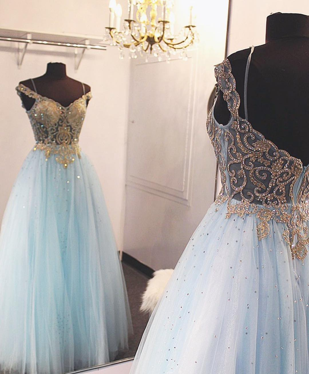 Off the Shoulder Gold Sequin Light Sky Blue Long Prom Dress Ball ...