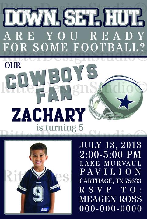 Dallas Cowboys Football Birthday Invitation Digital File