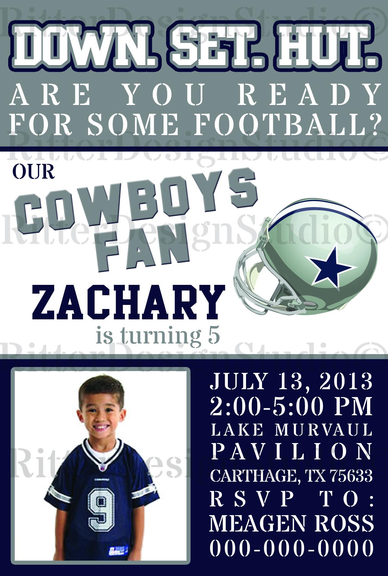 Dallas Cowboys Football Birthday Invitation - Digital File/Printable ...