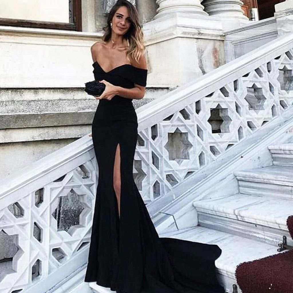 Off The Shoulder Black Mermaid Prom Dress,Long Evening Dress with ...