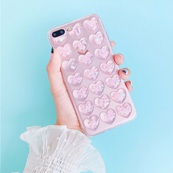 bb434b2308 Pink Transparent Bubble Heart iPhone Case   iPhone 6/7/8/Plus/X ...