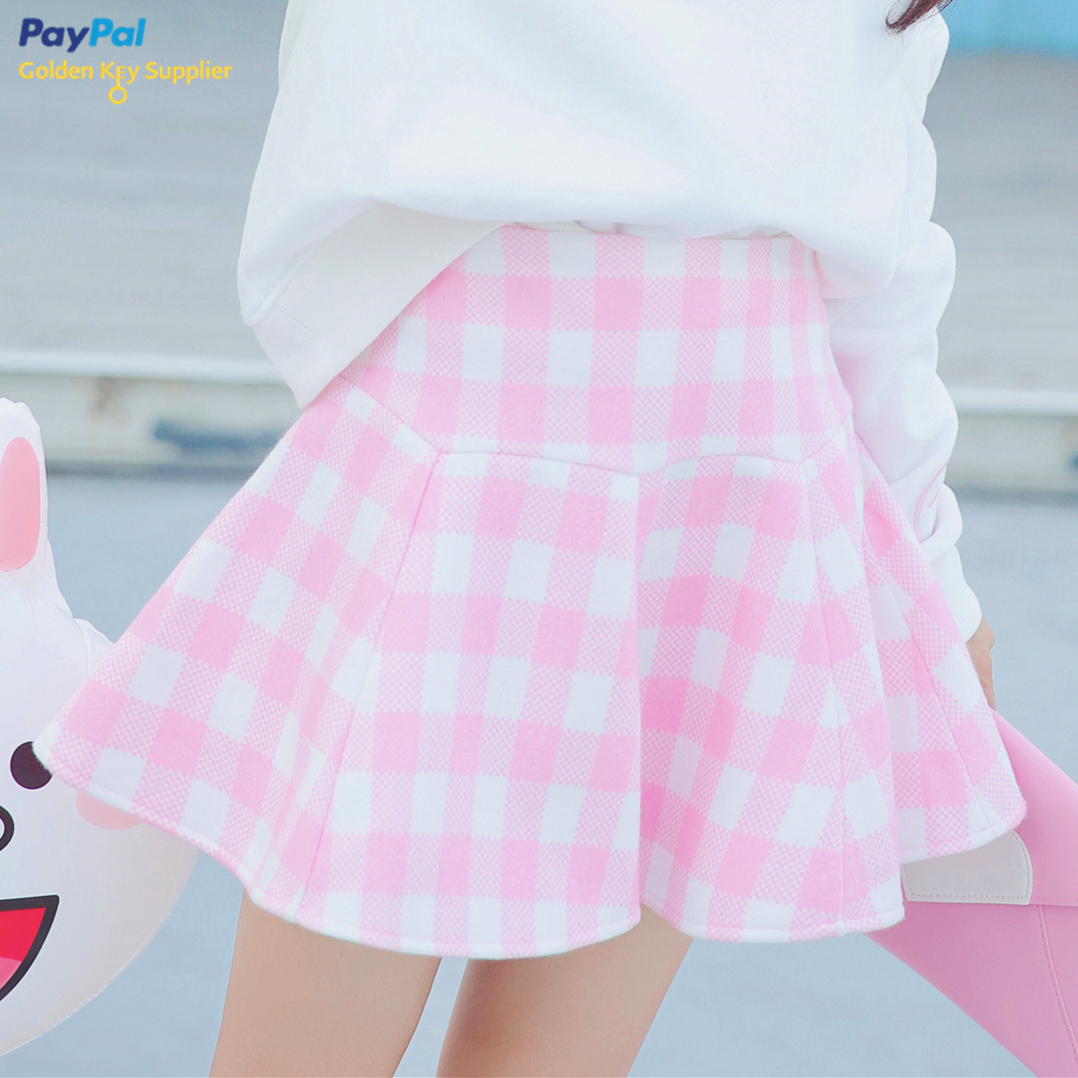 FREE DHL SHIPPING Sweet Plaid Pink Skirt