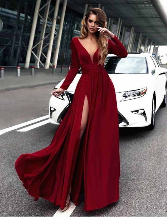 5303a34e992a Sexy Red Prom Dress V-neck Long Sleeves Prom Dresses Chiffon Evening Dress  Formal Dress on Storenvy