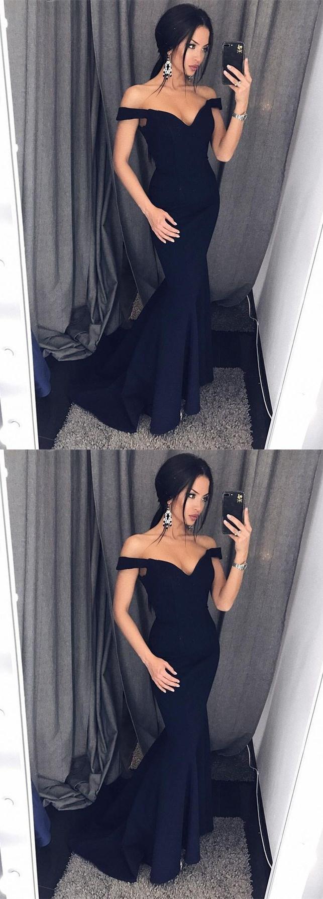 49b413730c Sexy Mermaid Off-Shoulder Black Satin Long Prom Dress Evening Dress LP151