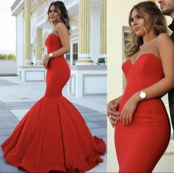 03bc7c4865065 Sexy Mermaid Prom Dress, Red Long Prom Dress, Sweetheart Satin Prom Dresses,  Evening