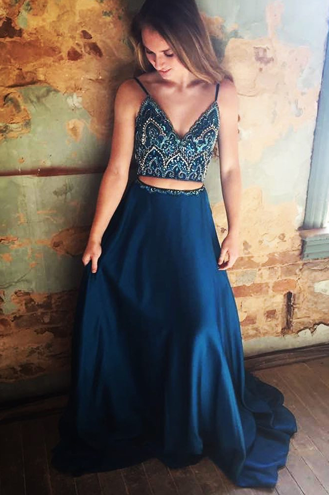Sparkly Two Piece Navy Blue Beading Long Prom Dress 2018 Hot Evening