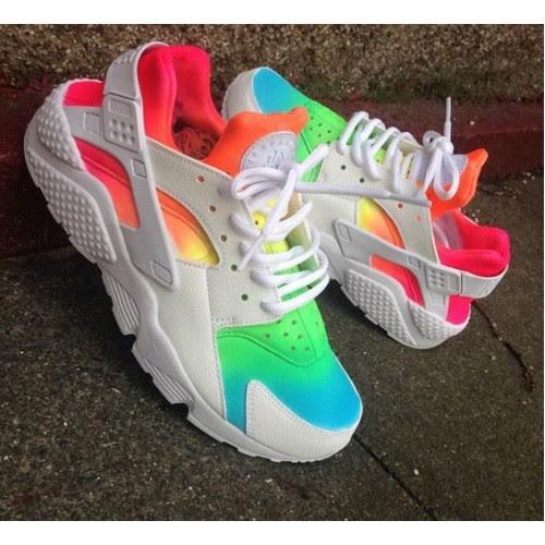 27eca655e20e Rainbow Tie Dye Colorful Nike Air Huaraches · SneakerSuperShop ...