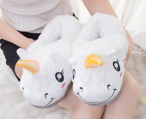 2e6b29c7163 FREE Shipping White Unicorn Plush Slippers · Sheloveit · Online ...