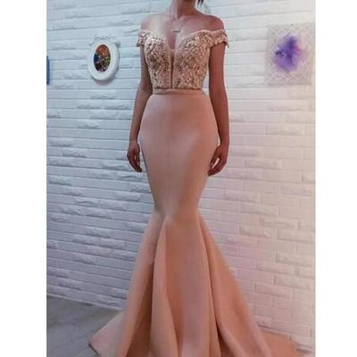 06acc0a8741 Evening dresses 2018 sexy pink off shoulder keyhole lace appliques crystal  beaded mermaid long satin formal