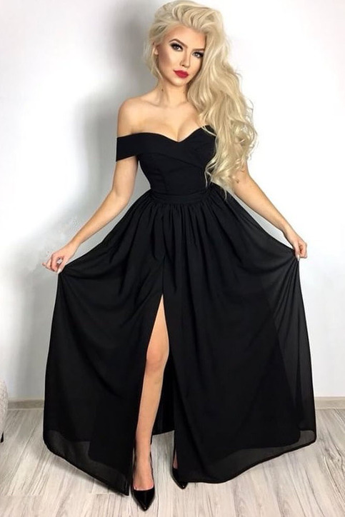 Hot Sexy A Line Off The Shoulder Black Chiffon Long Prom