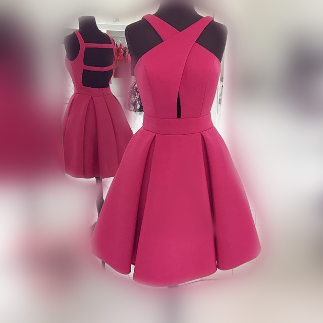 enjoy cheap price latest discount sleek 2017 Short Rose Homecoming Dress Prom Dress, Short Prom Dress with Open  Back from halundress