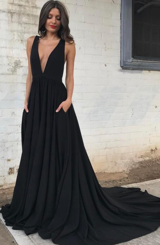 Sexy Deep V Neck Chiffon Black Long