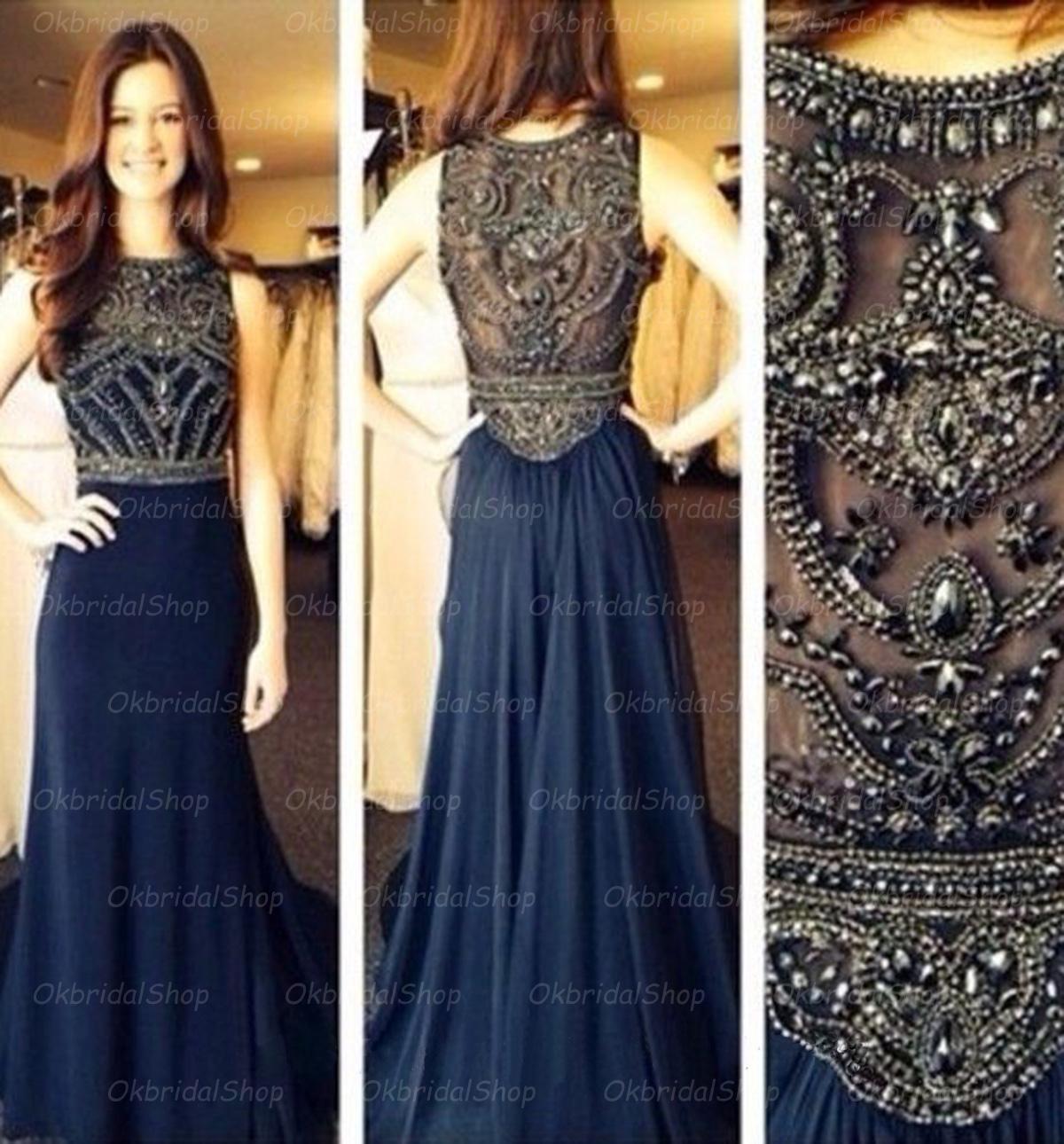 85ba243a9219 Navy prom dress, chiffon prom dress, long prom dress, best prom dress,