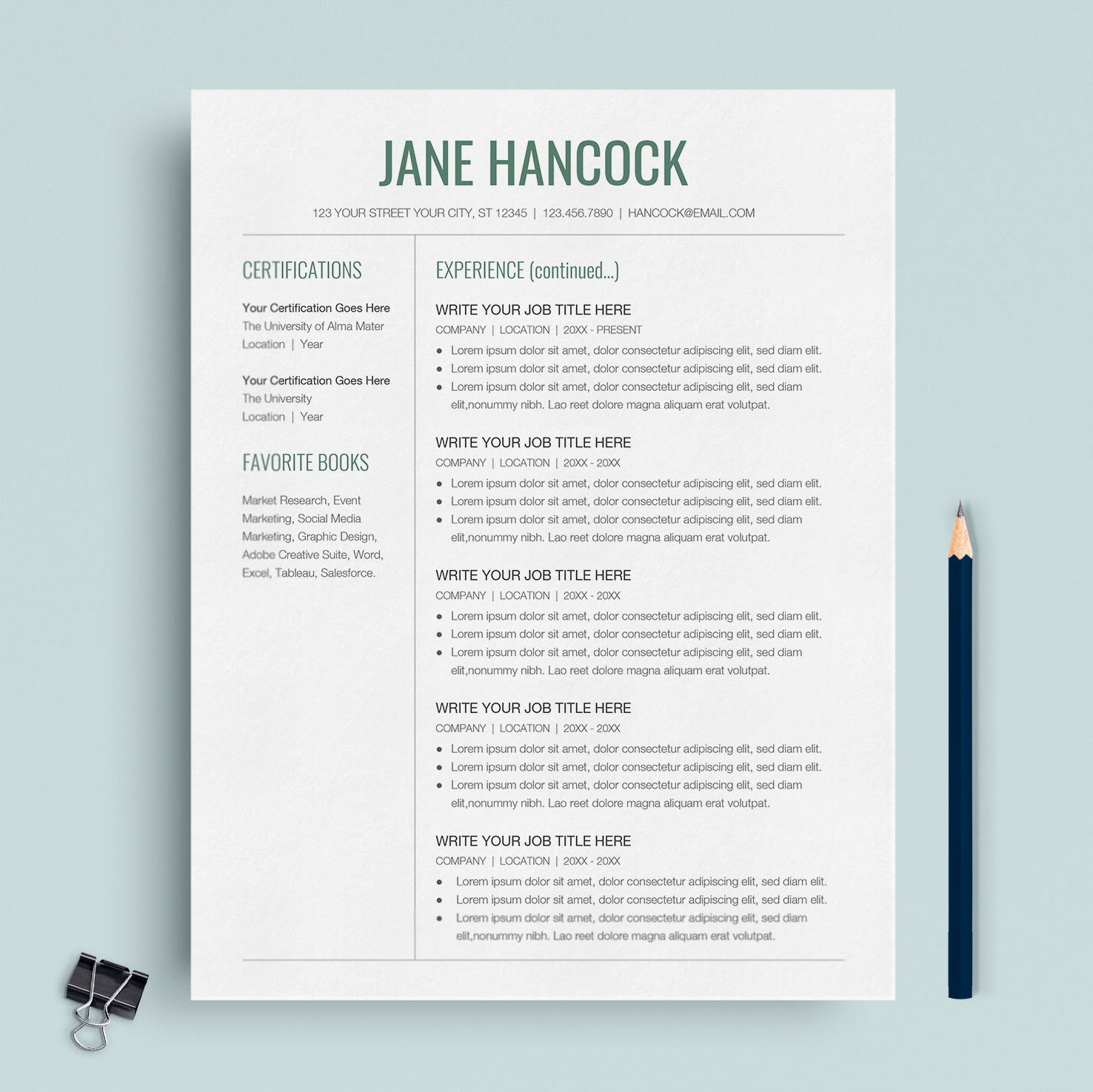 Professional Resume Template Google Docs CV Cover