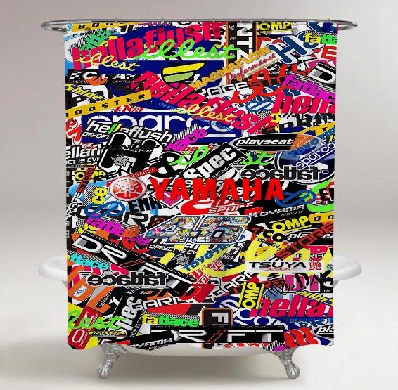 Top Famous Yamaha Logo Sticker Collage Print On Custom Shower