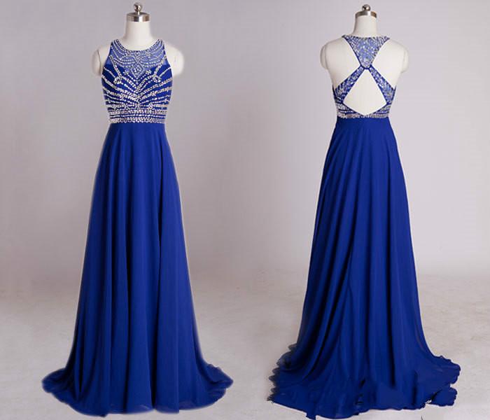 Blue Beaded Prom Dress