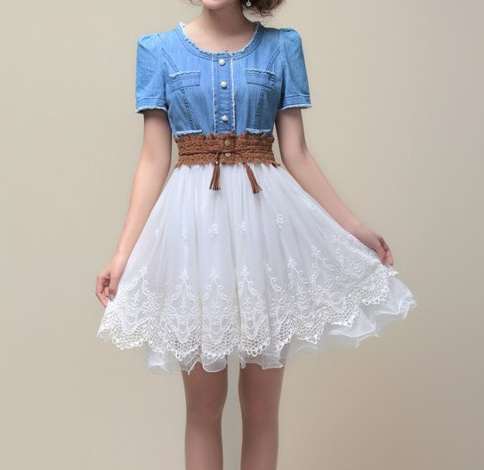 Short Sleeved Denim Lace Dress Sold By Sellonwan Brand Official Site
