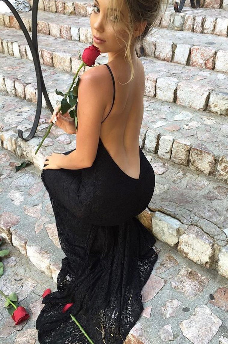 3739fac913fc Hot Sexy Mermaid Halter Backless Black Lace Long Prom Evening Dresses with  Sweep Train on Storenvy