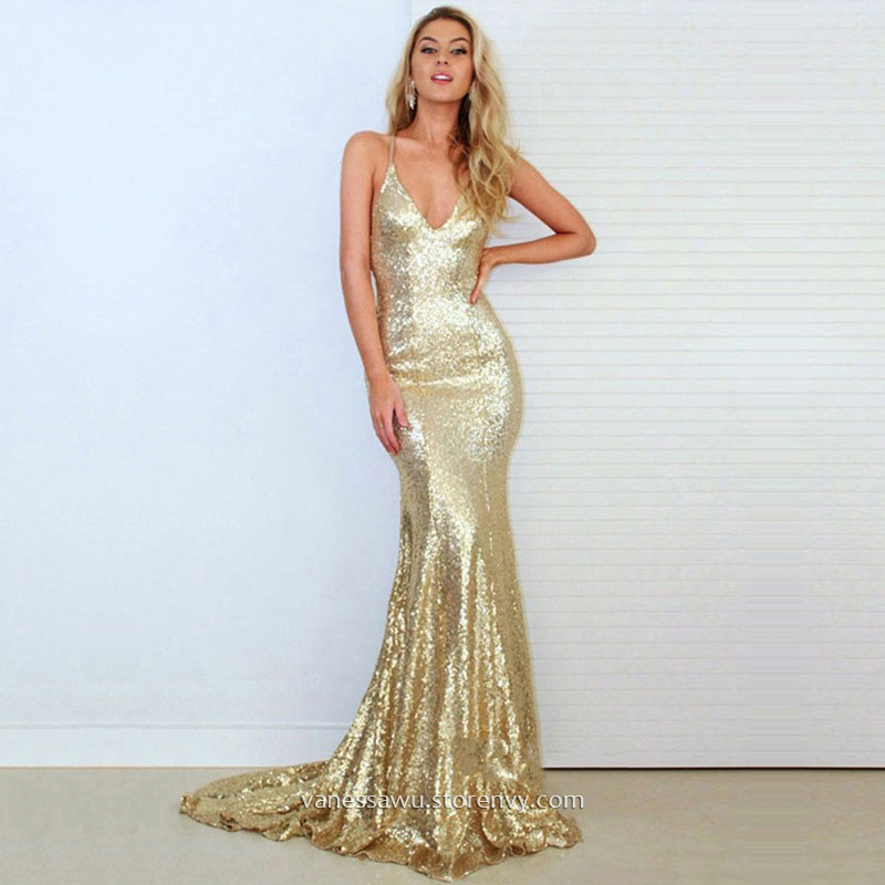 0d02291bfdd13 Long Prom Dresses,Trumpet/Mermaid V-neck Formal Dresses,Sweep Train  Sequined Evening Dresses with Ruffle,#020103494 on Storenvy