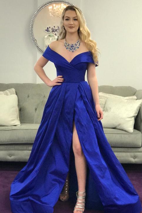 Elegant Off The Shoulder Royal Blue Long Prom Dress With