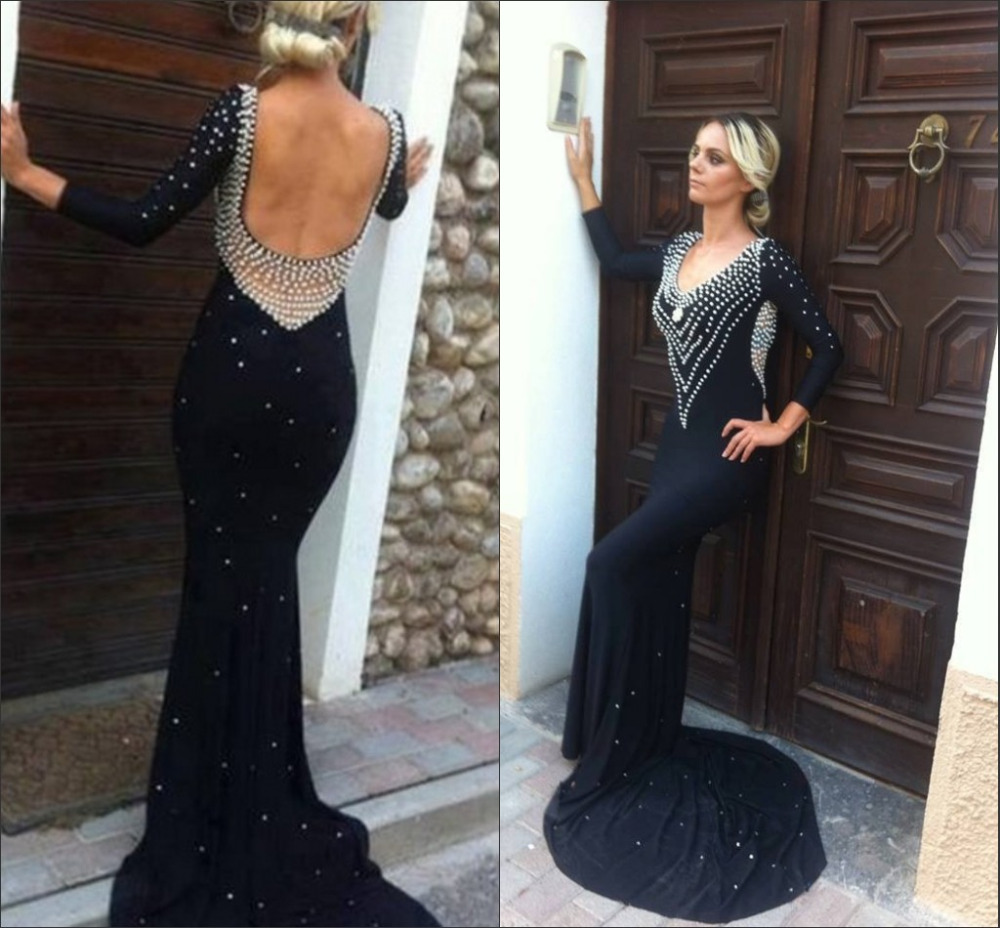 e1747419f9a2 Formal Dress Women, Low Back Long Sleeves Formal Dresses Evening Wear,  Black Long Evening