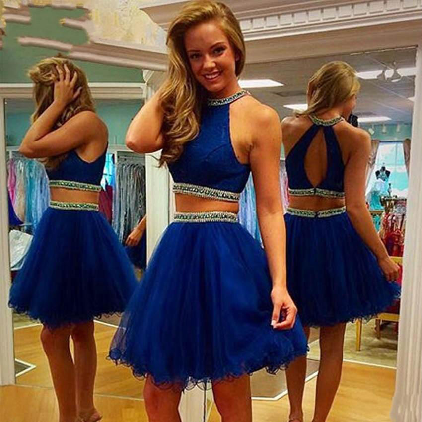 f26746d0d8ae8 Special Occasion Dresses Short, O Neckline Royal Blue Prom Dress, Two Piece  Lace Cocktail