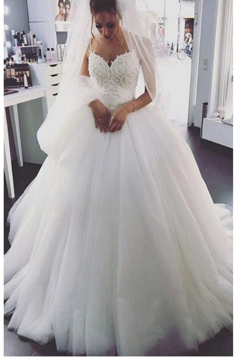 Spaghetti Straps Ball Gown White Wedding Dresses Lace Up