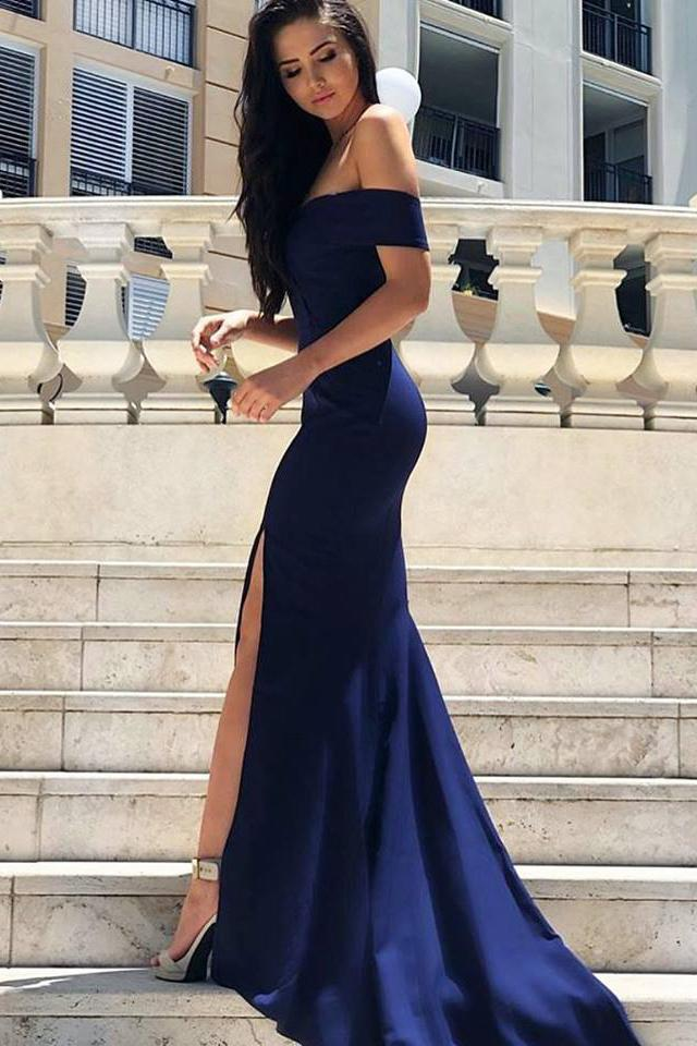 d59097acd8d 2018 Mermaid Prom Dresses Off ShoulderSexy Off the Shoulder Royal Blue  Mermaid Long Evening Dress with