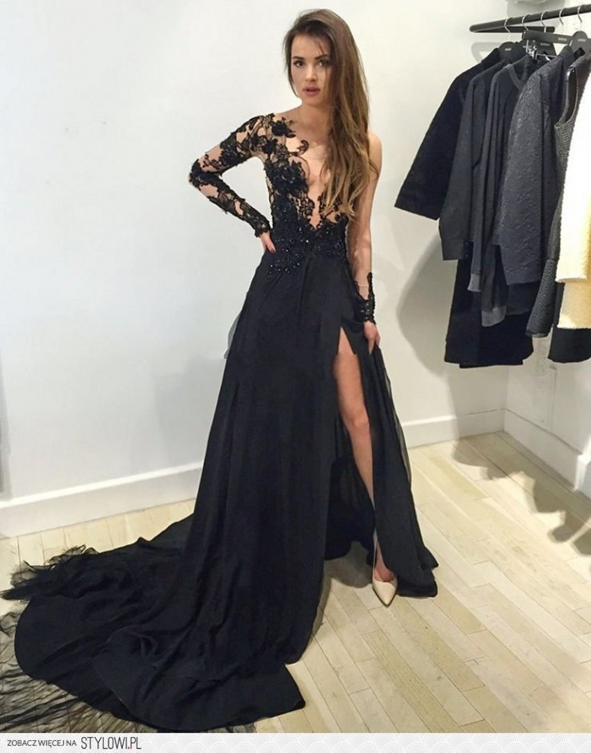 Black lace long sleeve prom dress,formal dresses with slit on Storenvy