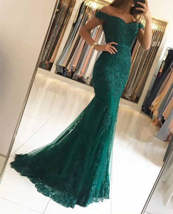Off the Shoulder Evening Dress with Beaded Appliques Lace ... 90fe164c4