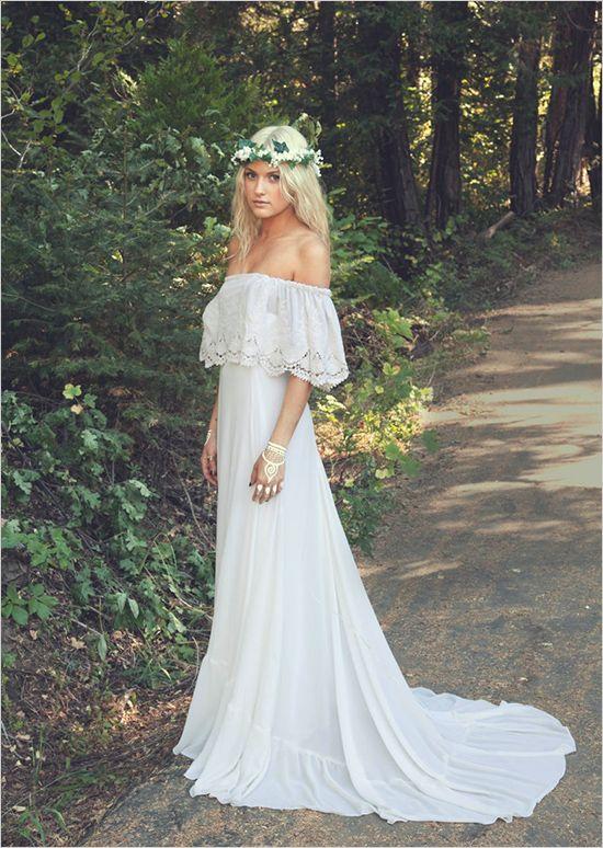 2018 Vintage Bohemian Wedding Dresses Sheath Lace Boho Bridal Gowns With Illusion Short Sleeves Sweep Train Beach Wedding Dress
