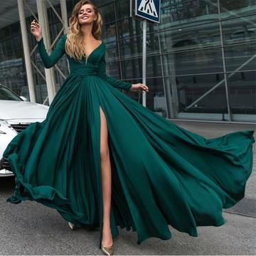 07fd09af4e9 Emerald Green Prom Dress Sexy Deep V Neck Long Sleeves Prom Dresses 2018