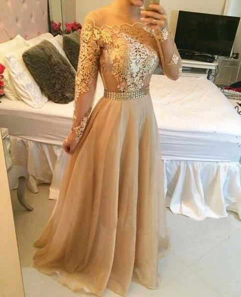 d77885af31aa0 Long sleeve prom dress, gold prom dresses, lace prom dresses, cheap prom  dresses, sexy prom dress from Various1dresses