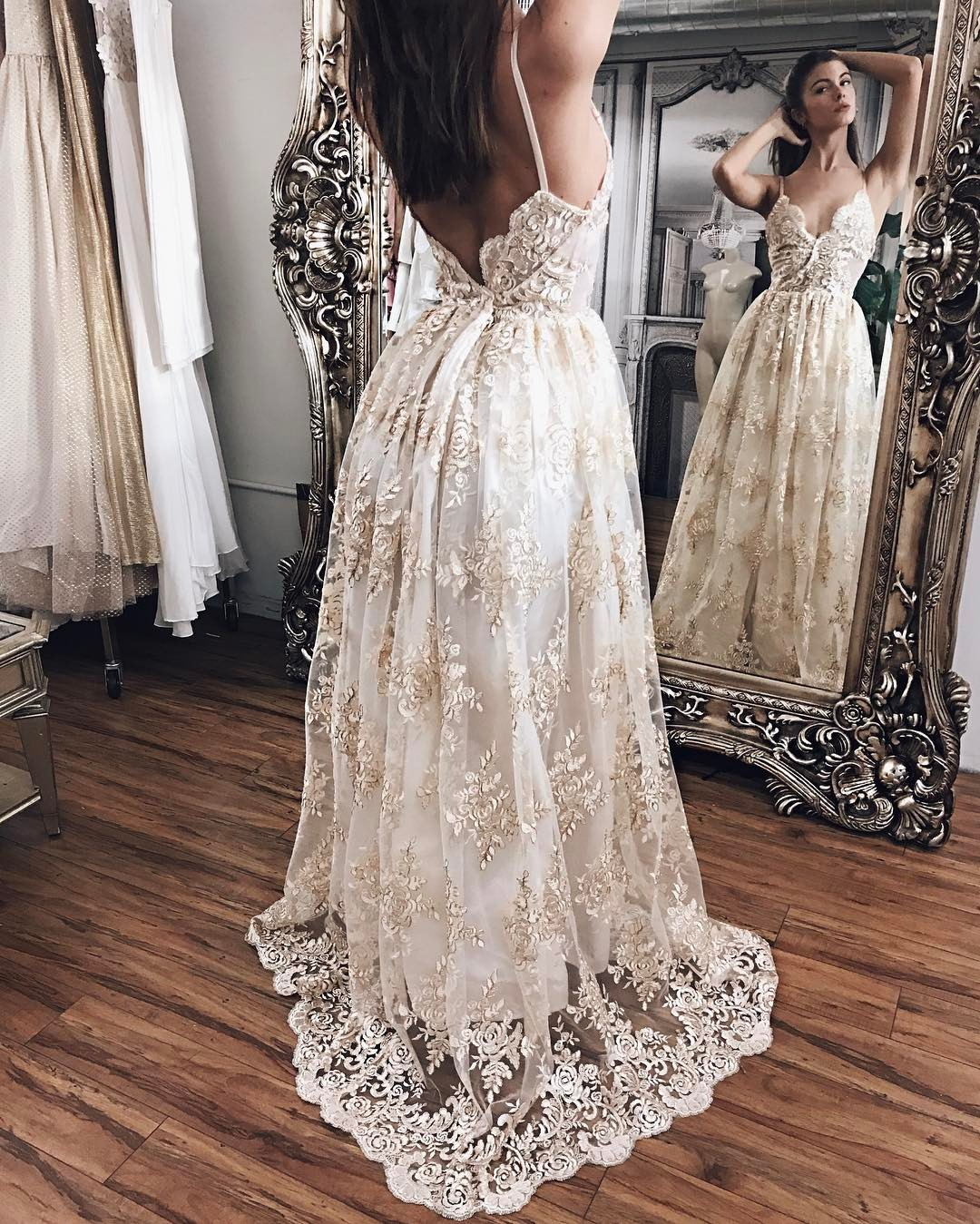 6a97c5d598 Beach Wedding Dress Ivory Outdoor Countryside Boho Beach Wedding Dress with Champagne  Appliques on Storenvy
