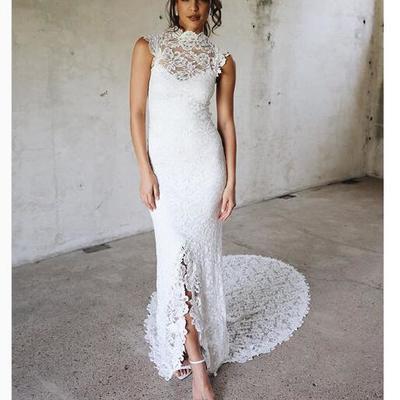 581d472374 2018 boho wedding dress, high neck lace wedding dress, long wedding dresses  bridal dress