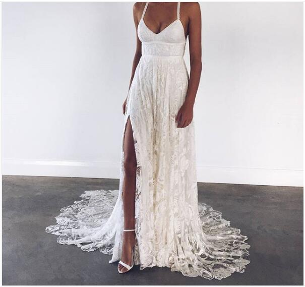 7ddb995334 Lace Boho Wedding Dress, Beach Wedding Dress, Halter Backless Lace Wedding  Dress, Long Wedding Dresses, Crisscross Back Bridal Dress on Storenvy