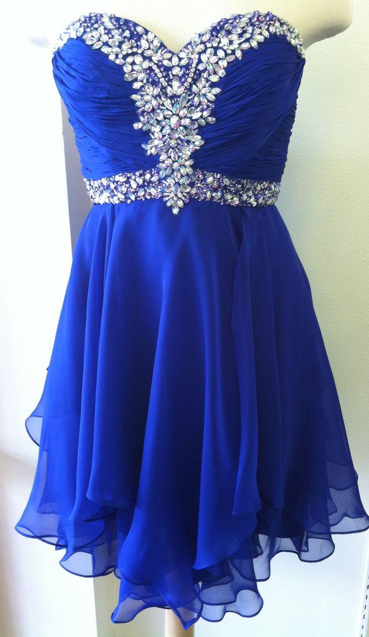 Short Royal Blue Chiffon Prom Dresses Crystals Women Dresses on Storenvy 902bc129f2