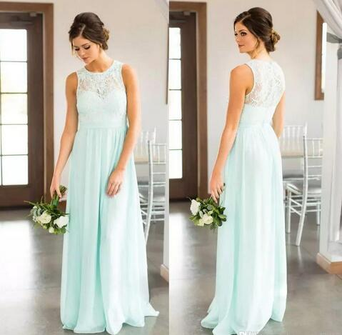 2018 Mint Green Lace Country Bridesmaids Dresses Long Sheer Jewel Neck Chiffon Wedding Guest Dress Floor Length Cheap Maid Of Honor Gowns From