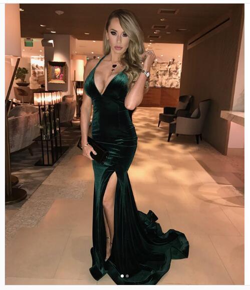 a3de0de4474 2018 Sexy Mermaid Emerald Green Prom Dress Evening Dress