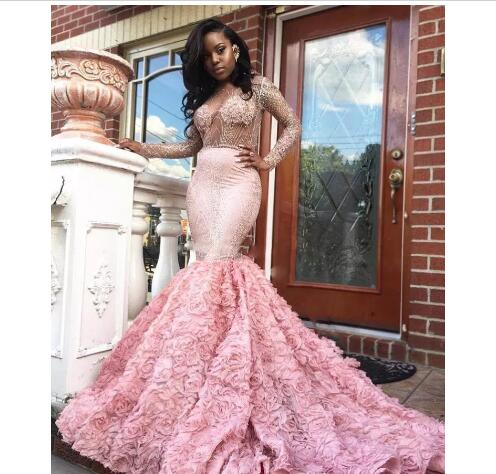 704870bd7057c 2018 Gorgeous Black Girl Prom Dress Pink Long Sleeve Prom Dresses Sexy See  Through Long Sleeves Open Back Mermaid Evening Gowns Formal Party Dress