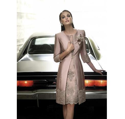 8c0807102df Elegant Mother OF The Bride Dresses With Long Coat Jewel 3/4 Long Sleeve  Formal