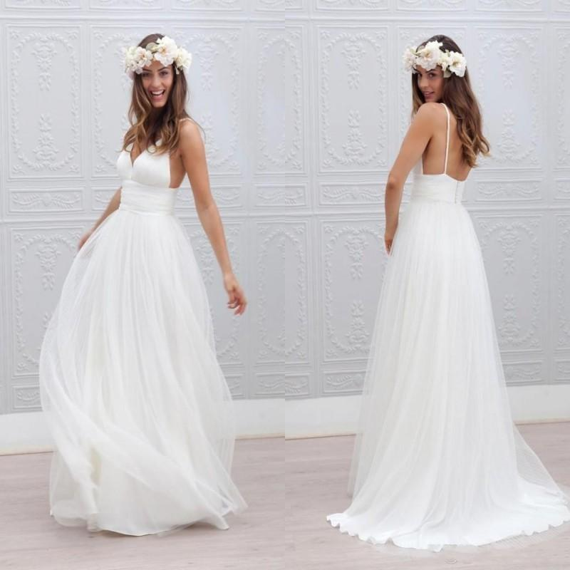 87264d7861f 2018 Summer Beach Long Wedding Dresses Deep V-Neck Spaghetti Straps ...