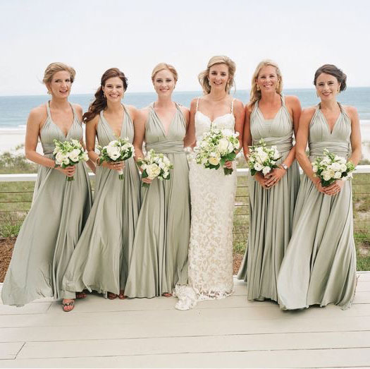 Conversible Sage Long Bridesmaid Dresses