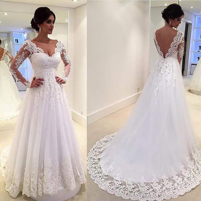 Long Sleeve Open Back White Lace Wedding Dress with Court Train,Plus Size  Lace Wedding Dress with Sleeves sold by Flosluna